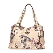 Lilley Womens Beige Butterfly Print Handbag (Click For Details)