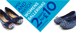 Mix and Match Womens Ballerinas 2 pairs for £10 selected lines