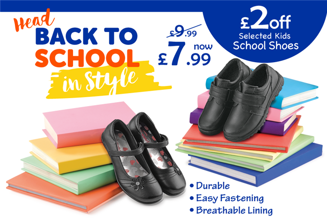 Head Back to School in Style £2 off Selected Kids School Shoes