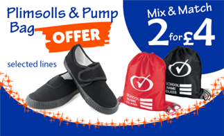Plimsolls & Pump Bag Offer - Mix & Match 2 for £4 on selected lines