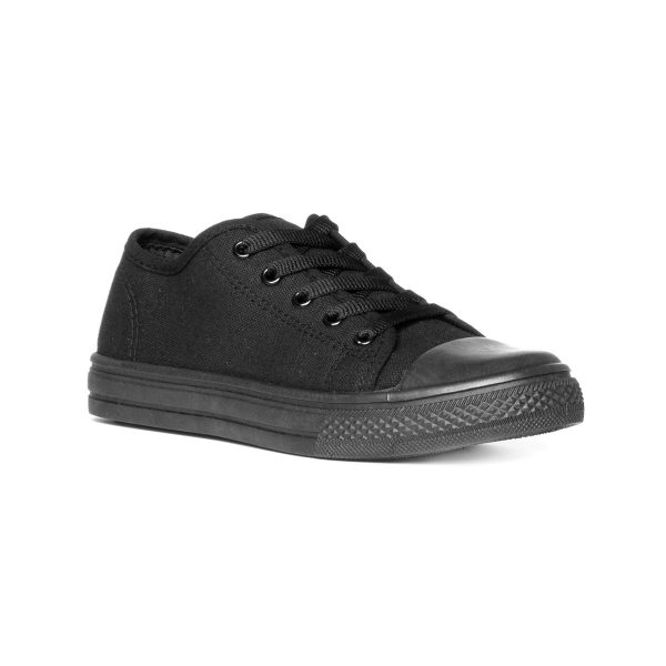 BLU Womens Black Fashion Lace Up Canvas Shoe