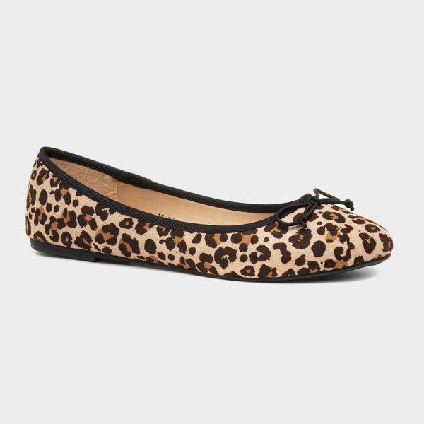 Lilley Womens Beige Leopard Print Ballerina