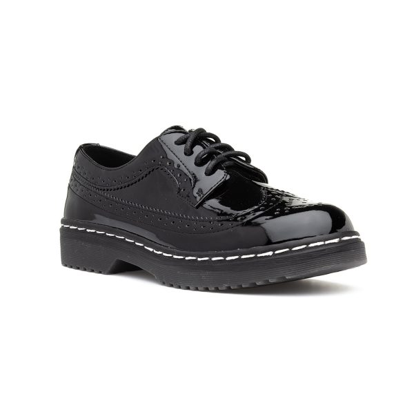 Lilley Womens Black Patent Lace Up Brogue Shoe