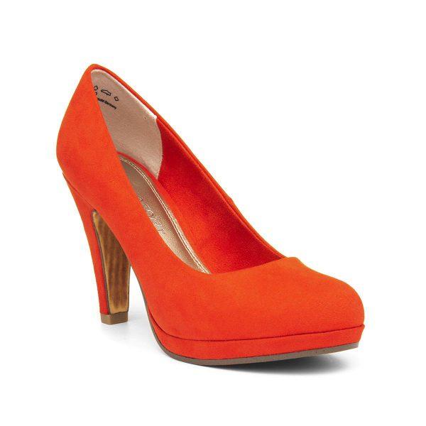 Marco Tozzi Womens Orange Heeled Court Shoe