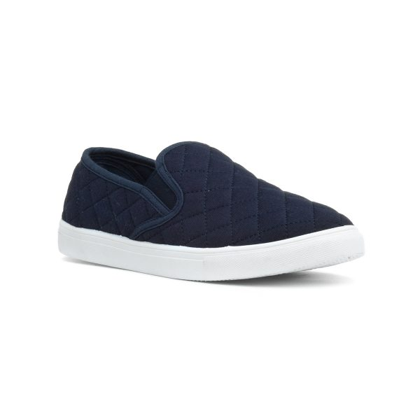 Lilley Womens Navy Quilted Slip On Canvas