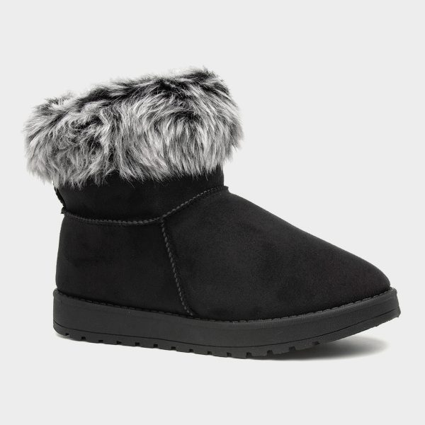 Lilley Womens Faux Fur Trim Pull On Boot in Black