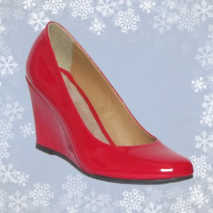 Womens Red Patent Wedge Court Shoe