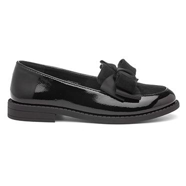 Lilley Girls Black Patent Slip On Loafer