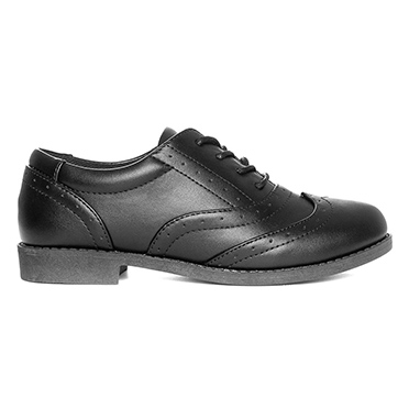 Lilley Girls Lace Up Brogue Shoe in Black