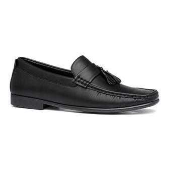 Beckett Mens Black Slip On Tassel Loafer