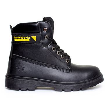 Earth Works Safety Mens Lace Up Safety Boot in Black