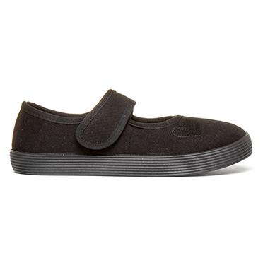 Walkright Girls Black Touch Fasten Plimsolls Shoe