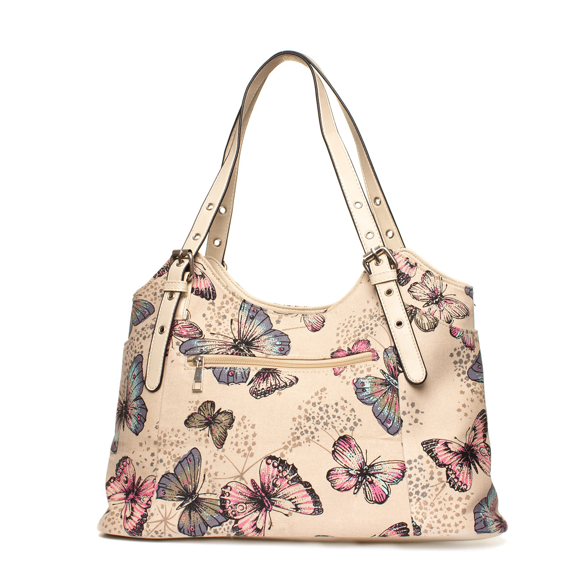 Lilley Beige Butterfly Printed Handbag