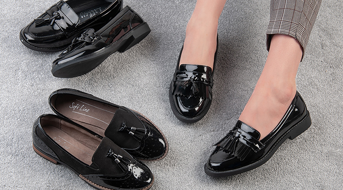 black enclosed shoes for work