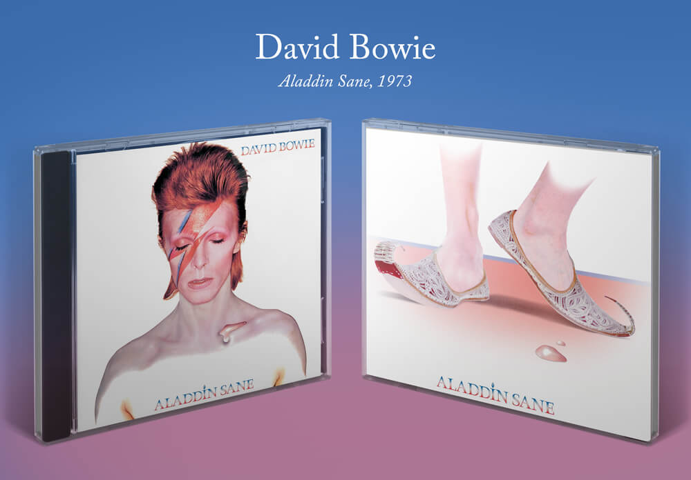 David Bowie Aladdin Sane album cover with Moroccan slippers