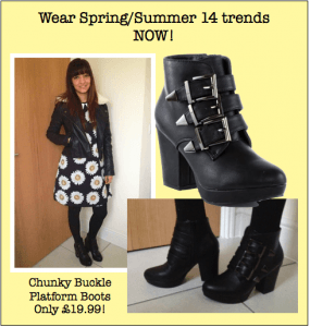 Spring Chunky Buckle Boots