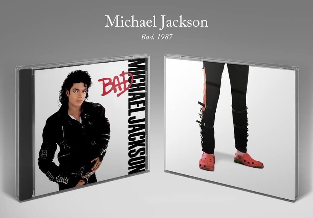 Michael Jackson Bad album cover with Crocs