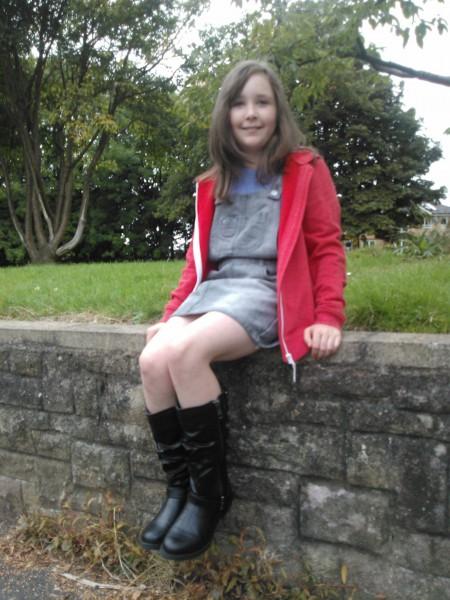 Alice wearing her biker boots