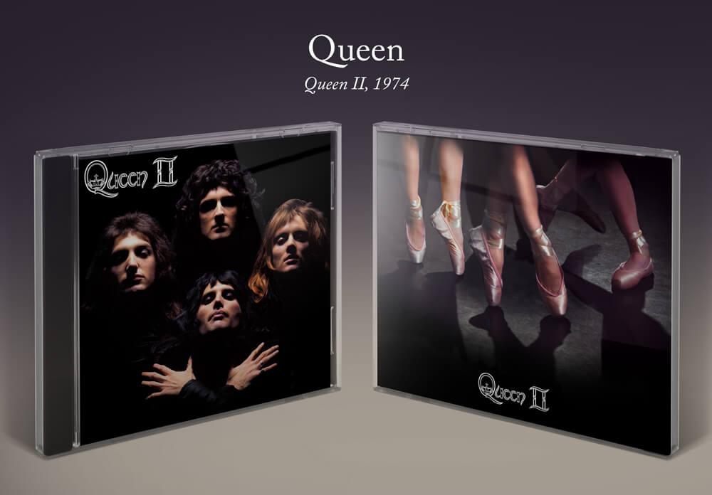 Queen II album cover with ballet shoes