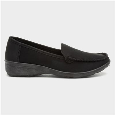 Womens Black Casual Comfort Loafer Shoe