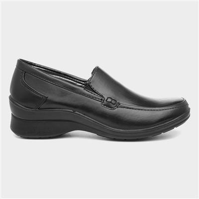 Womens Black Casual Slip On Shoe