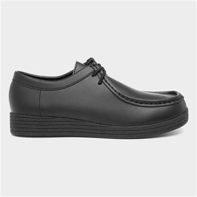 Womens Black Coated Leather Lace Up Shoe