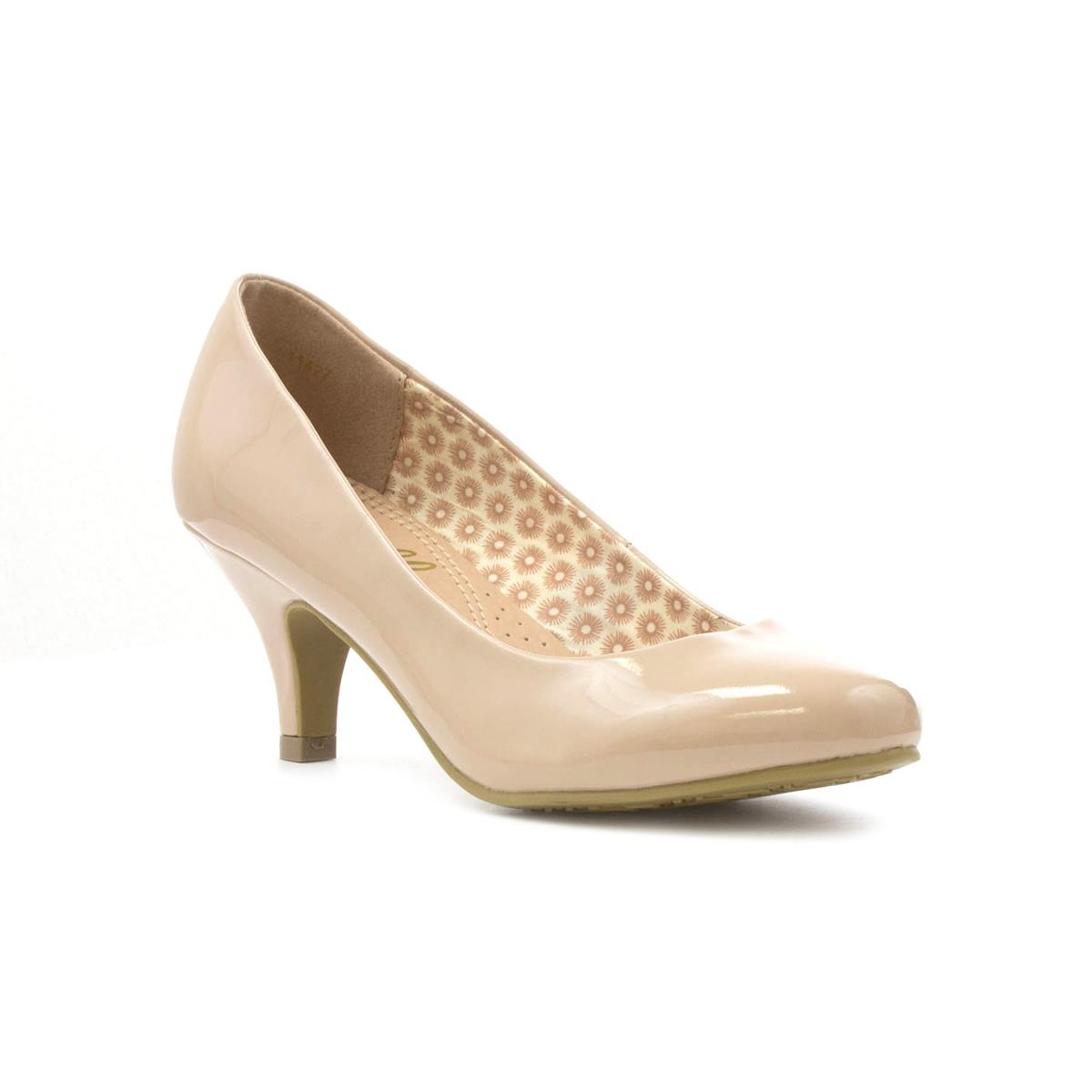 Shoes zone sandals - Lilley Womens Patent Court Shoe In Nude Click For Details