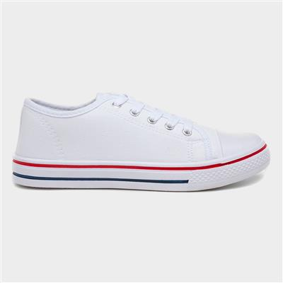 Womens Lace Up Canvas Pump in White