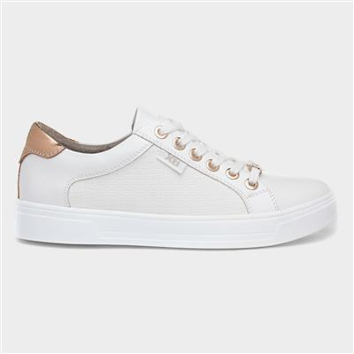 Womens White Lace Up Casual