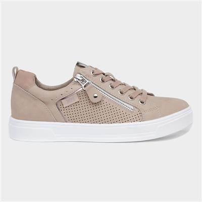 Womens Pink Lace Up Casual Shoe