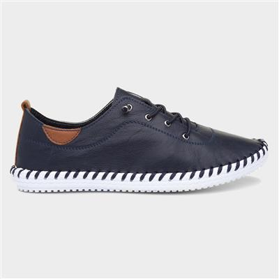 St Ives Womens Navy Leather Shoe