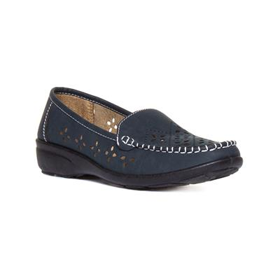 Womens Navy Casual Wedge Shoe