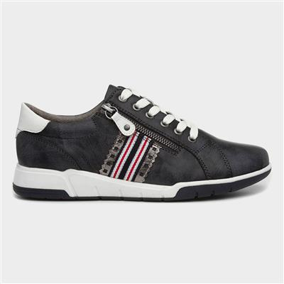 Womens Navy Lace Up Casual Shoe