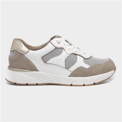 Womens Casual Lace Up Shoe in Stone