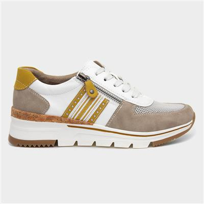 Womens White & Beige Lace Up Shoe