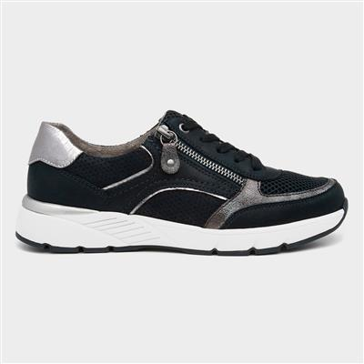Womens Navy Lace Up Shoe