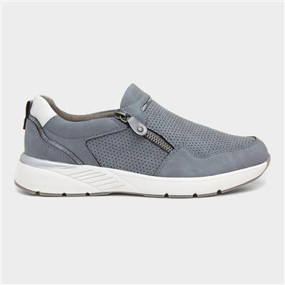 Womens Blue Casual Shoe with Zip