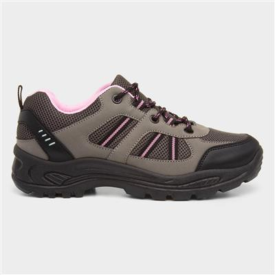 Womens Grey & Pink Lace Up Hiking Shoe