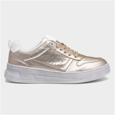 Womens Gold Lace Up Casual Shoe