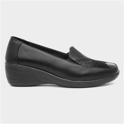 Womens Black Slip On Wedge Shoe