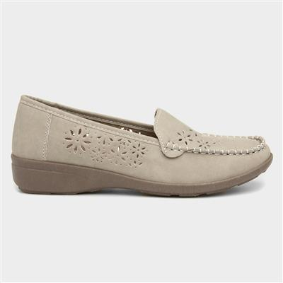 Womens Beige Casual Loafer Shoe