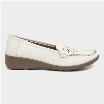 Womens White Casual Wedge Loafer Shoe