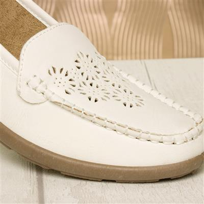 softlites womens white casual wedge loafer shoe12108