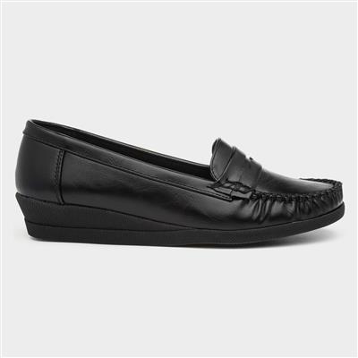 Womens Black Moccasin Loafer Shoe