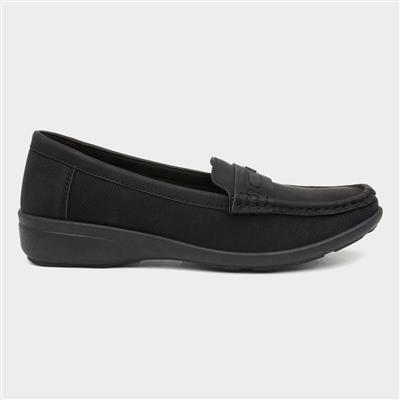 Womens Black Slip On Flat Loafer