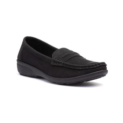 Womens Black Slip On Flat Loafer