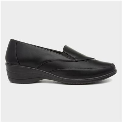 Womens Black Slip On Casual Comfort Shoe