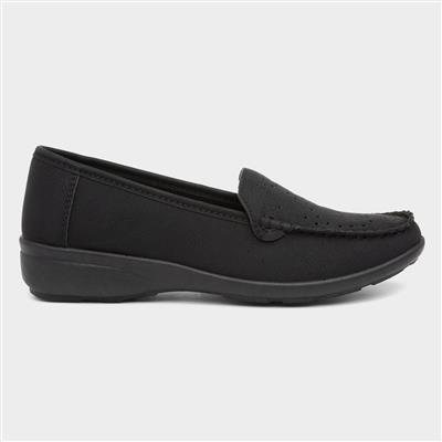 Womens Black Slip On Casual Loafer