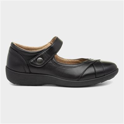 Womens Black Casual Tough Fasten Shoe