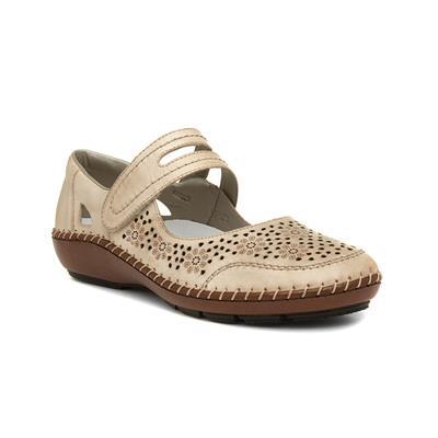 Womens Beige Touch Fasten Shoe